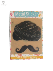 Indian Turban Moustache Metal Sticker